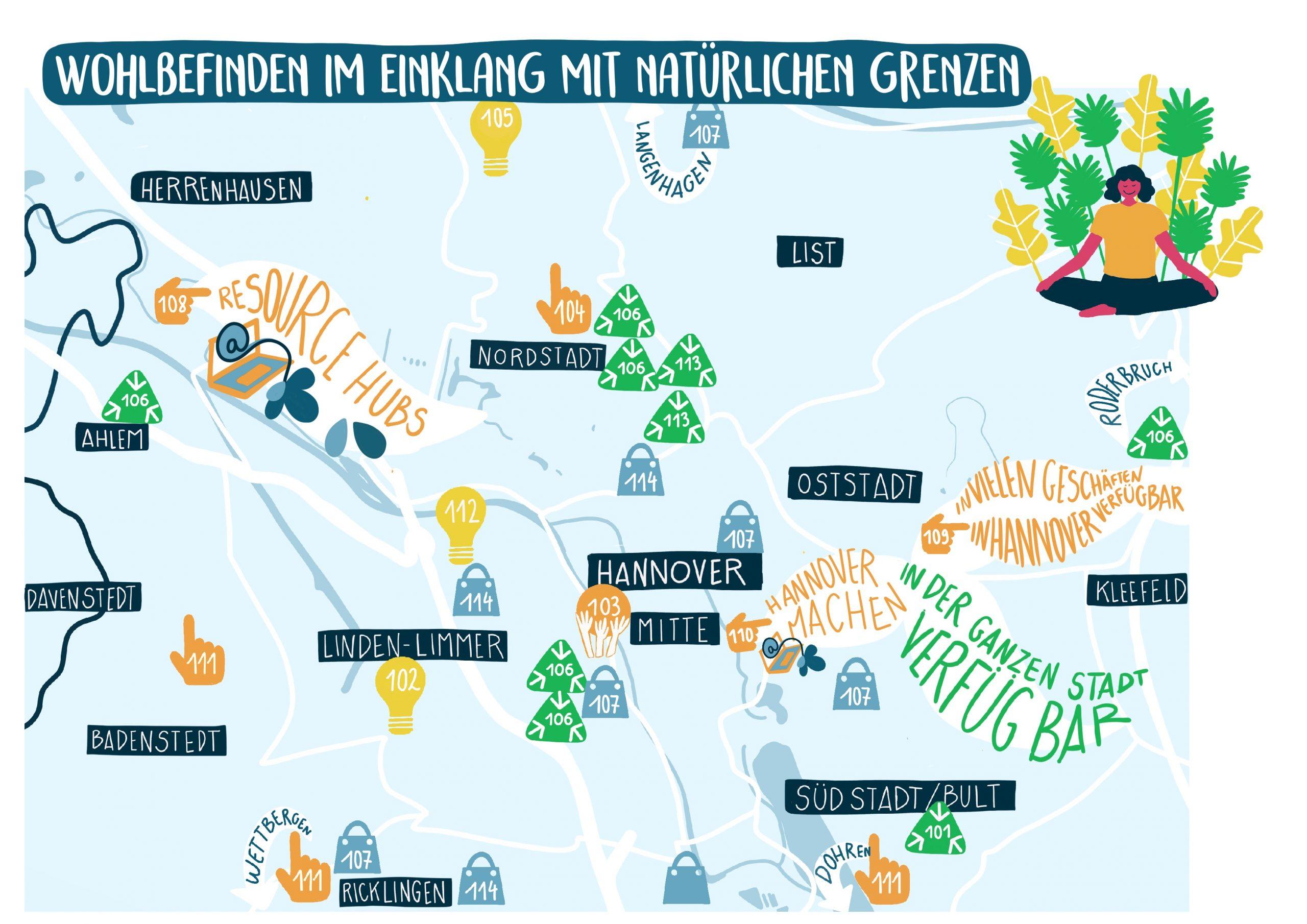 Karte Wohlbefinden im Einklang mit natürlichen Grenzen